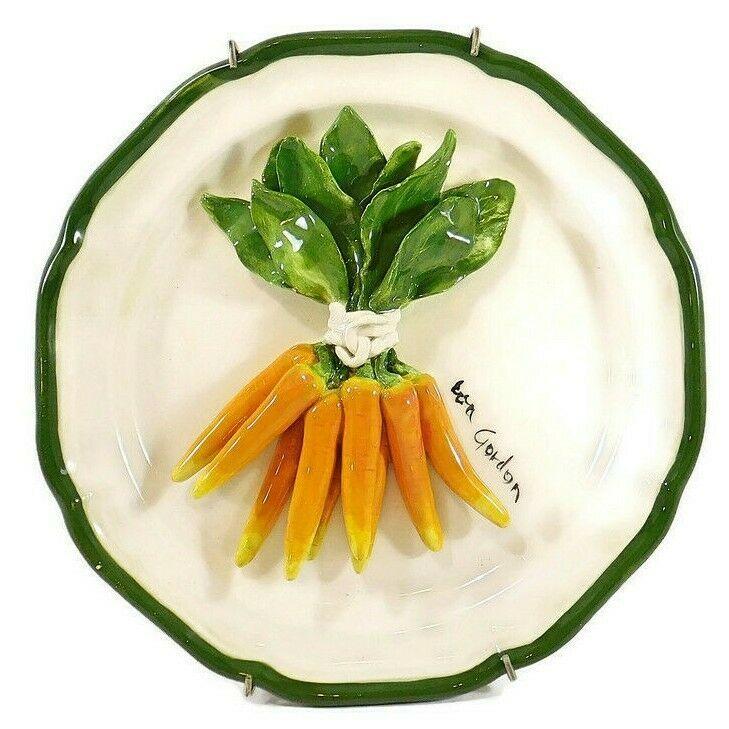 Eva Gordon Ceramic Carrot Plate 3d Carrots Eva Gordon Ceramics Signed 11 Stoneware Pottery Bud Vases Family Figurine