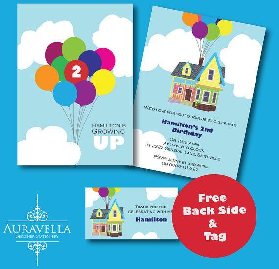 UP the movie Invitation. Printable birthday invitation, Up invitation, House balloons invite, party invitation, kids invitation.