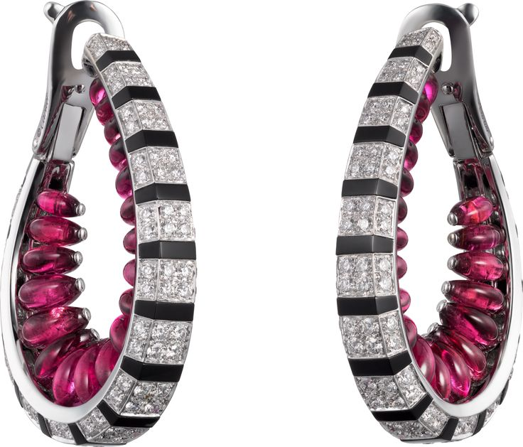 CARTIER. Earrings - white Gold, Rubellite beads, Onyx, brilliant-cut Diamonds. Étourdissant Cartier 2015 High Jewellery