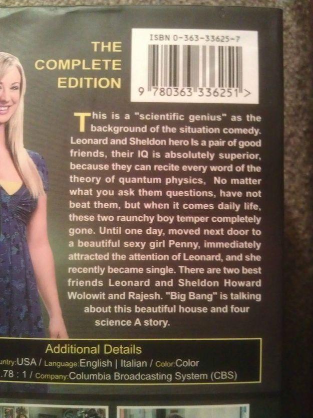 Big Bang Theory DVD translated into Italian