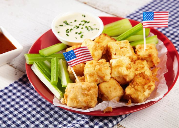 These Cauldron Tofu Bites are coated in crispy buttermilk batter and served with a spicy buffalo sauce that packs a punch and a complimentary cooling blue cheese dip.