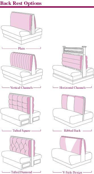 Banquette & Booth Back Rest Options - Banquette, Bench, & Booth Back Rest Treatments and Booth Specifications  Jay's Furniture Products offers many standard, optional and custom-designed ways to manufacture commercial seating to fit your requirements.  Our specifications and back rest options are listed below.  All back rests can be finished in vinyl, fabric, or leather.