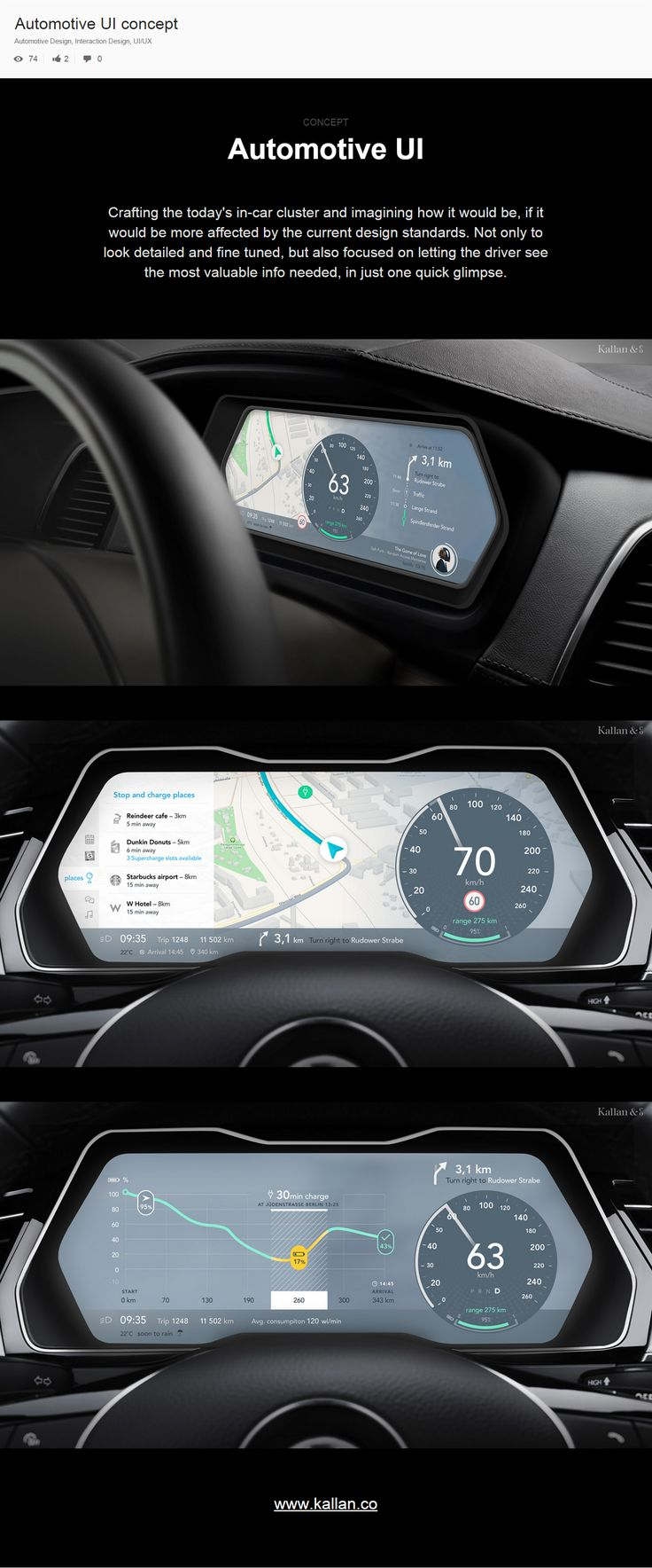 Automotive UI concept, designed by Kallan & Co
