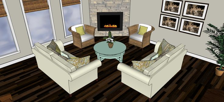 Corner fireplace layout