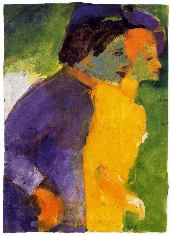 Nolde, Emil (1867-1956)  - Couple, Yellow and Violet  -   . s.d. (by *Huismus)
