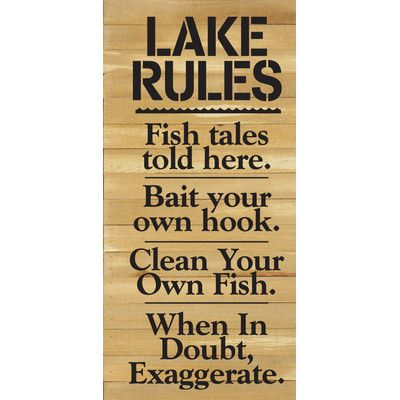 Artistic Reflections 'Lake Rules. Fish Tales Told Here…' by Rachel Anderson Textual Art on Plaque