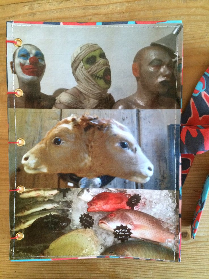 """Handmade notebook with collage and fabric cover. This notebook """"Freaks"""" combines photographs from Prague in the Czech republic, from Varanasi in India and from Normandy in France. For sale on www.delphineiv.com"""
