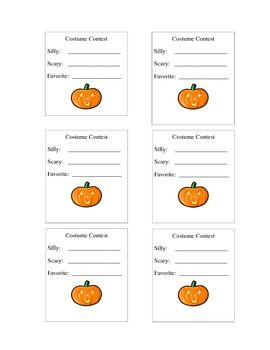 """Simple printable ballot for voting best """"silly"""", """"scary"""", and """"favorite""""…"""
