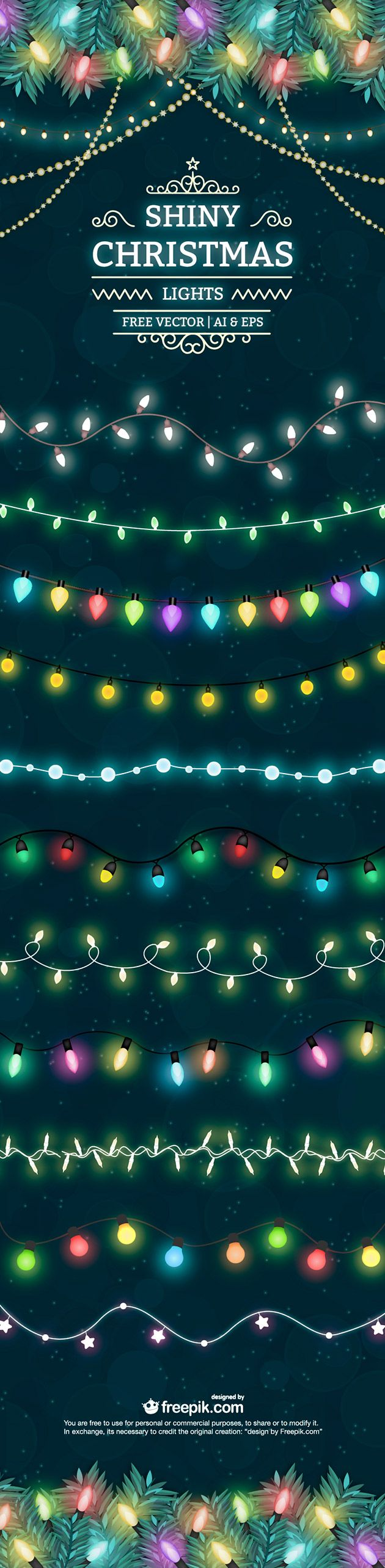 Shiny Christmas lights free vector set