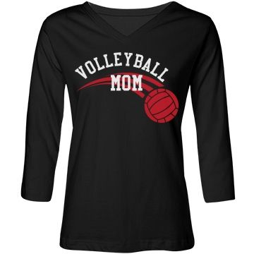 3/4 Sleeve Volleyball Mom | Stylish 3/4 sleeve tee has a flattering fit for everyone. Shirt reads Volleyball Mom with a volleyball logo. Customize with your favorite color, style, sport, even your fave's name or number on the back.