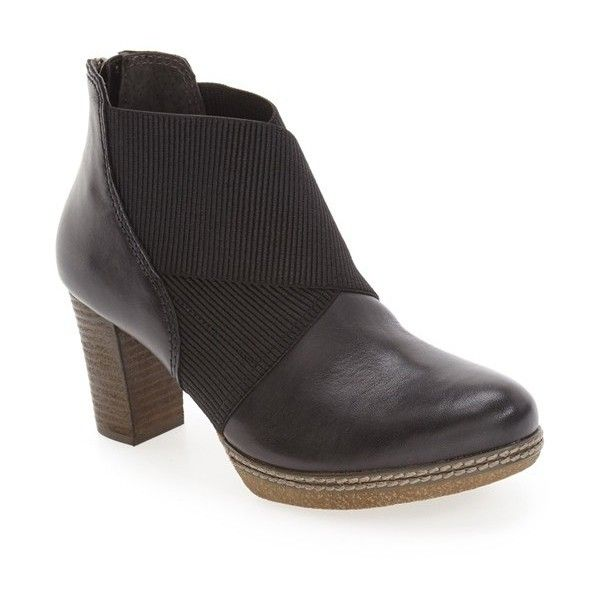 Women's Gabor Block Heel Bootie (9,495 PHP) ❤ liked on Polyvore featuring shoes, boots, ankle booties, black leather, short boots, ankle boots, wide ankle boots, bootie boots and wide booties