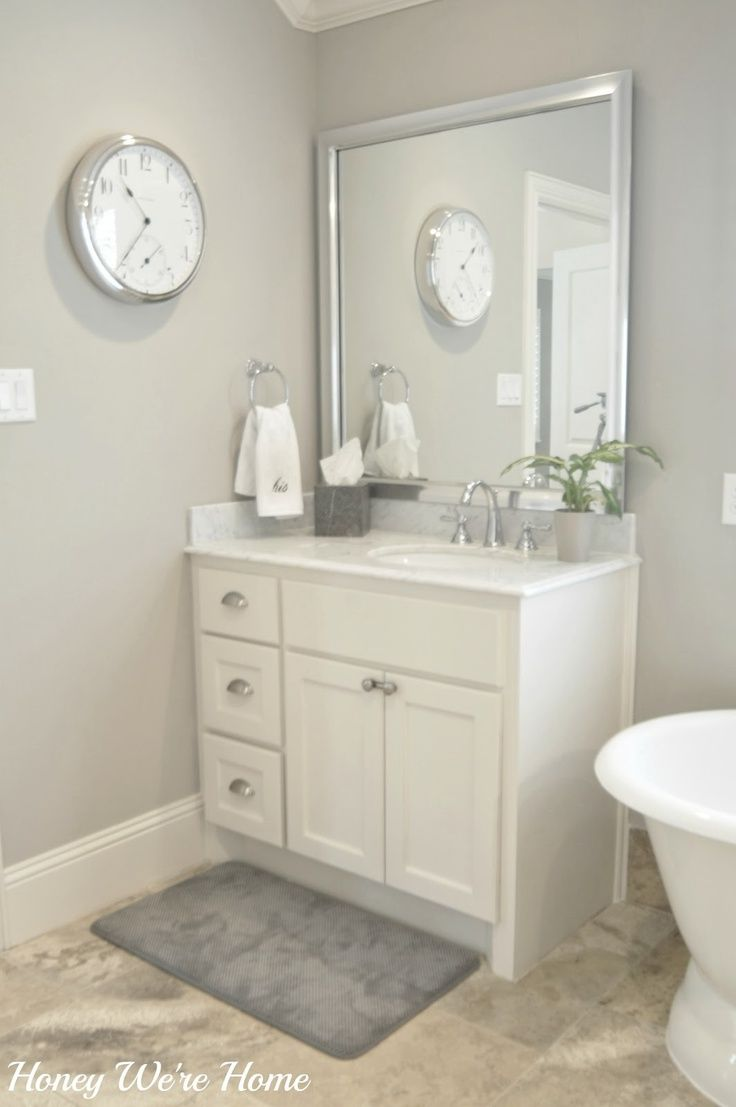 Sherwin williams perfect greige ideas pictures remodel - Glad Someone Else Likes Gray And White In The Bathroom Now If My Husband Would Only Let Me Paint The Cabinets White Like This