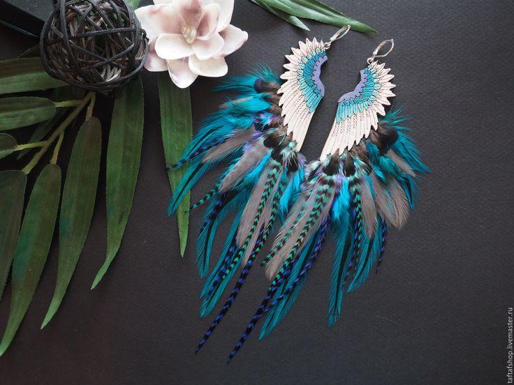 Серьги с перьями - Полёт, фиолетовый, бирюзовый, серый - серьги с перьями, серьги с перьями нарядные