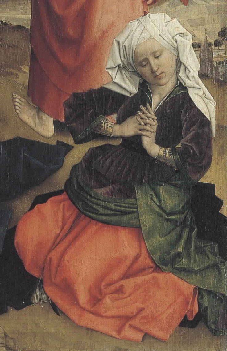 "The orange ""skirt"" is her kirtle, worn under the green gown. Rogier van der Weydan, Detail from The Crucifixion, c. 1425-30."