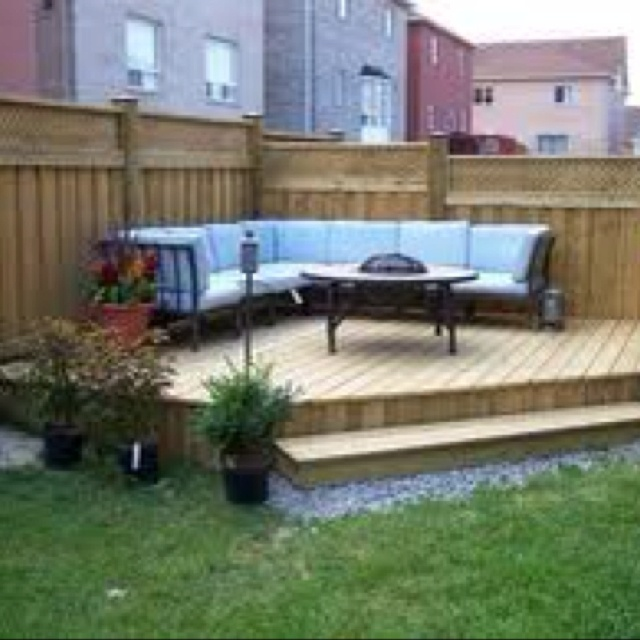 Backyard ideas- raised patio. Probably not this yard, but the next one!!