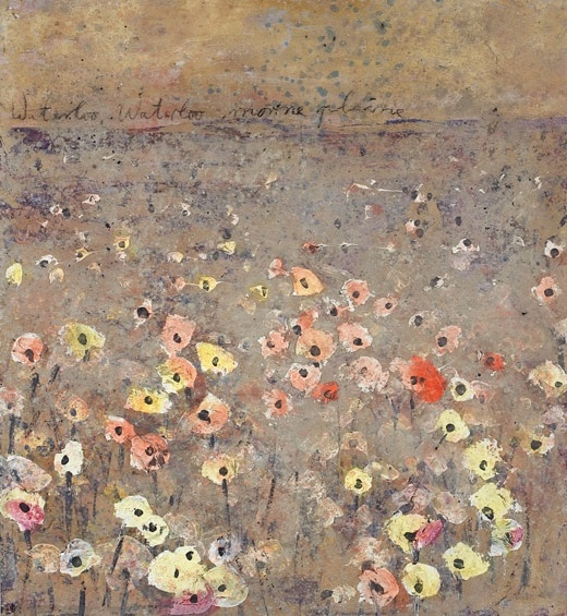 Anselm Kiefer; Waterloo Waterloo, morne plaine; 2000; paint, emulsion, sand, and ashes on color photographic paper; 114 cm x 104.5 cm