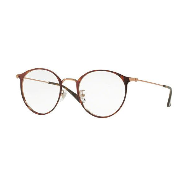 Ray-Ban RX6378F Asian Fit 2971 Eyeglasses ($135) ❤ liked on Polyvore featuring accessories, eyewear, eyeglasses, havana, metal frame eyeglasses, ray ban eyewear, ray ban glasses, lens glasses and metal frame glasses