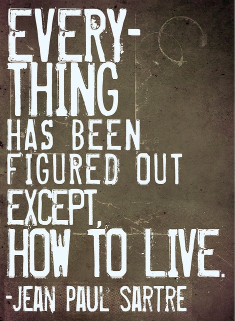 everything / live / life / jean sartre / philosophy