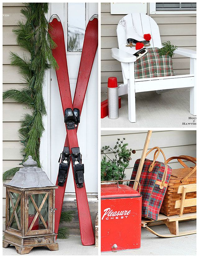 Fun holiday front porch ideas are shown, including chalk painted skis, vintage Thermoses and plaid decor for Christmas. And most of the items were found at thrift stores and estate sales.: