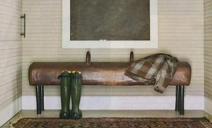 gym-tastic!  a vintage leather hourse as a porch bench