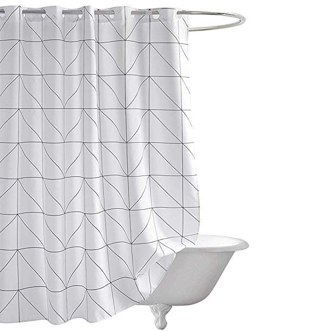 Fabric Shower Curtain Seavish White Geometric Mildew Resistant