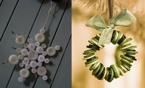 #Christmas #ideas with #buttons! an easy #garland and a simple #snowflake
