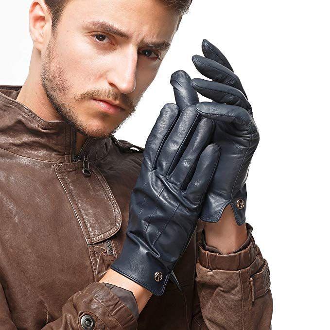 Nappaglo Men GENUINE Nappa Italian Lambskin Leather Gloves Fleece Lining Black