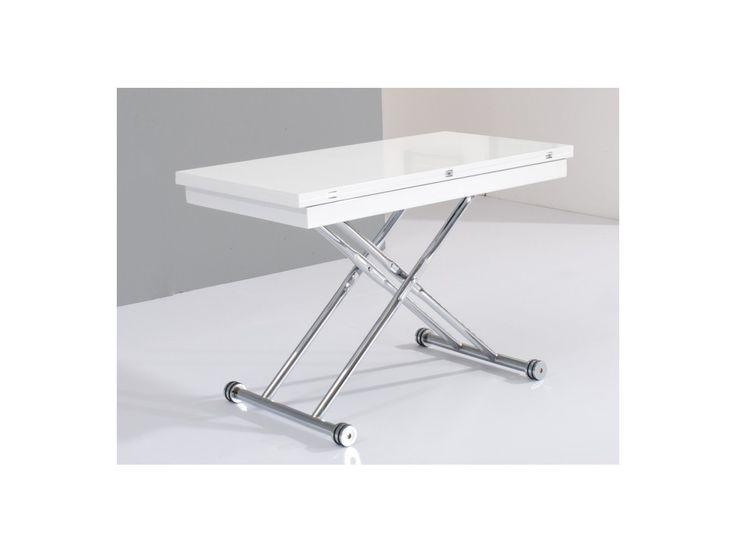 Tisch Stahl Hochglanz Stretch - Höhenverstellbar & Ausklappbar