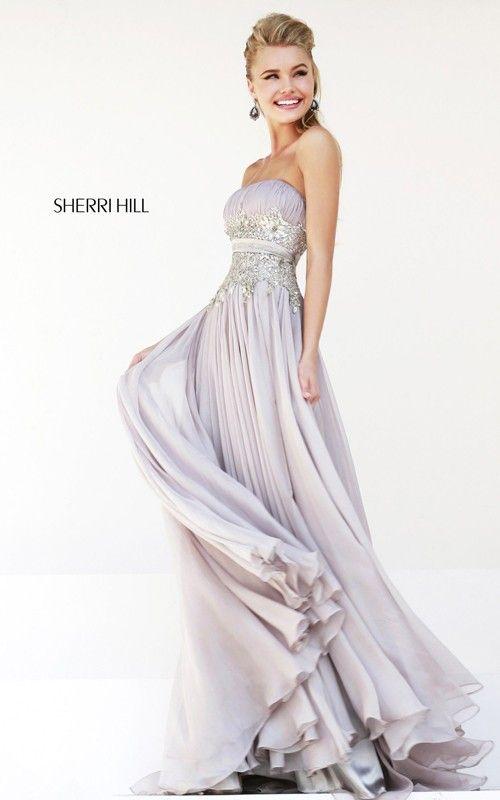 Gray Beads Sherri Hill 4803 Long Prom Dress 2015