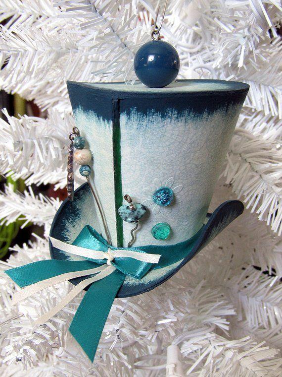 Christmas Top Hat Ornaments.Miniature Hat Christmas Ornament Mad Hatter Xmas Ornament