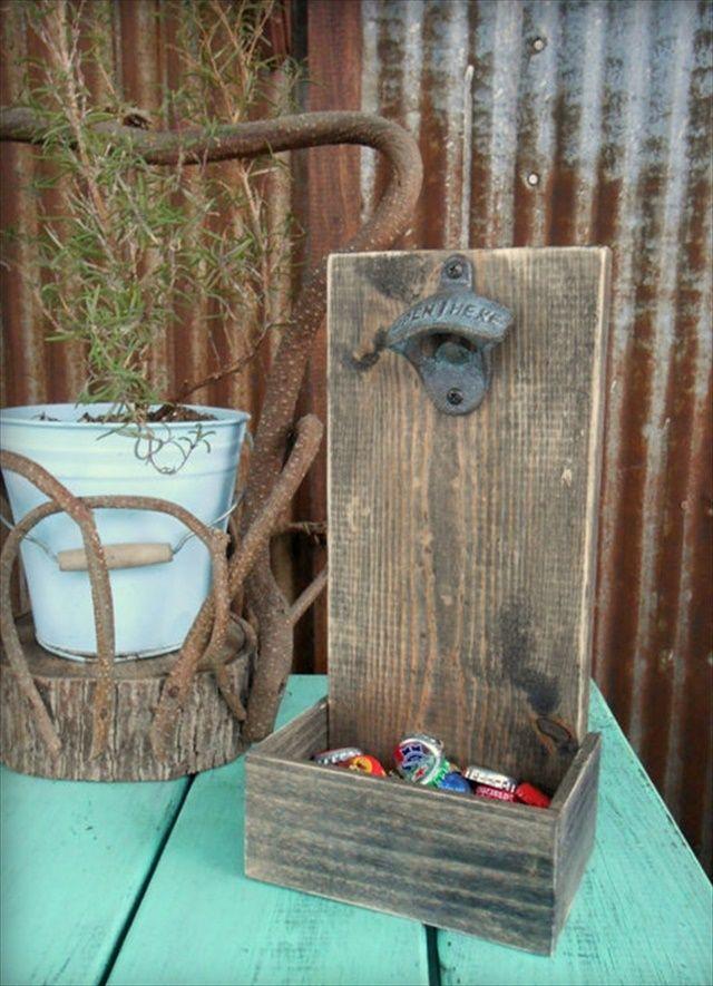 Beer Bottle Opener & Cap Catcher-15 DIY Wood Decor Projects | DIY to Make