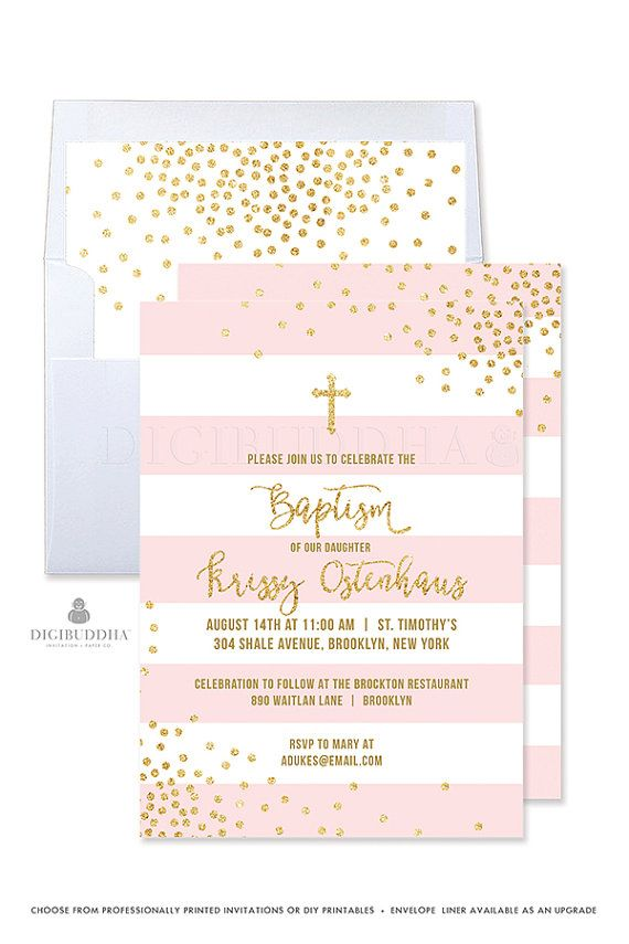 Girl Baptism Invitation Girl Christening Invitation Pink and Gold Baptism Invites Baby Girl Baptism Invitation Printable Invitation - Krissy style by Digibuddha