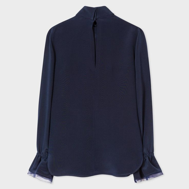 paul smith london sale, Paul Smith Womens Navy High-Neck Silk Top With Frill Cuffs Psxs-062M-141-N, paul smith hat catalogo - $183.34