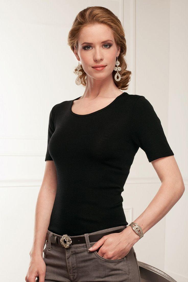 Le top décolleté léger manches courtes - Sous-vêtements tricots pour Femme - Bernard Solfin