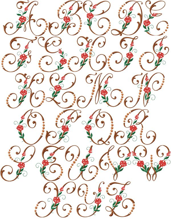 Heirloom roses font machine embroidery designs hoop