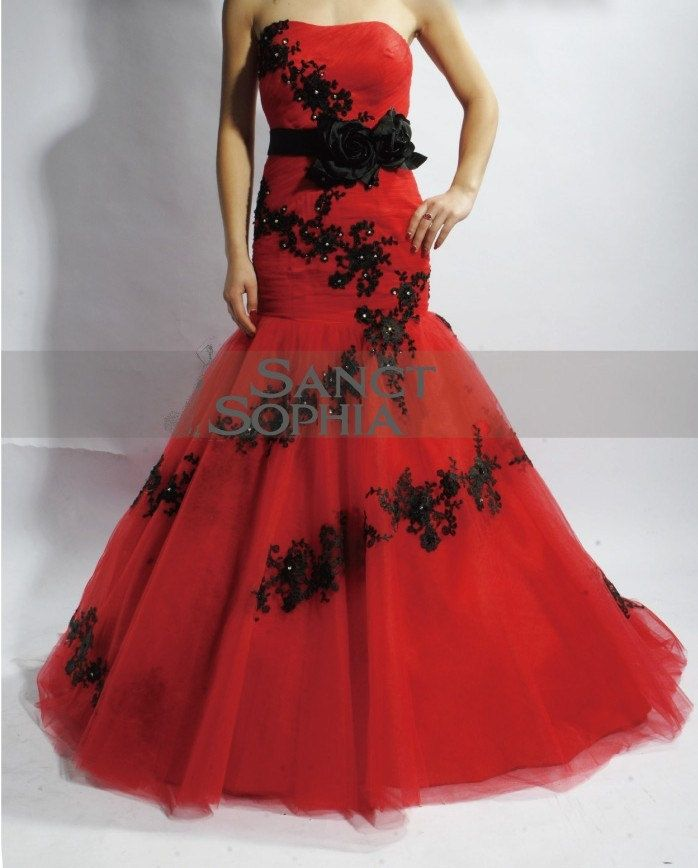 Custom mermaid colorful wedding dress black and red for Black mermaid wedding dresses