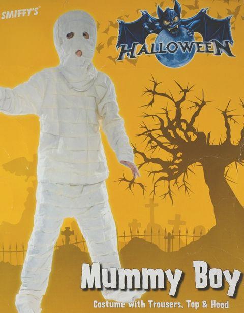 Costume bambino Mummia per Halloween o Carnevale. Completo di casacca, pantalone e cuffia. L.145-158 cm. Disponibile da C&C Creations Store