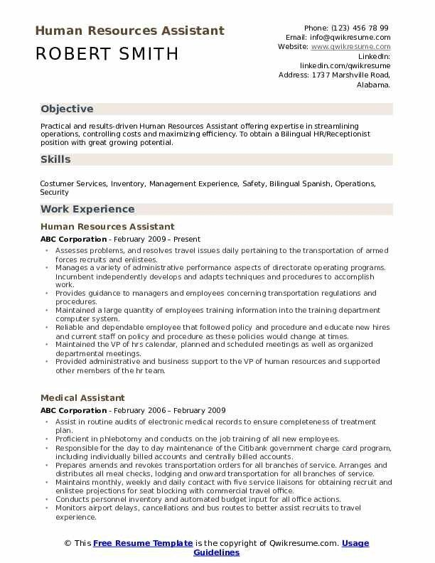 Human Resources Assistant Resume Samples Qwikresume Resume Skills Resume Examples Resume Objective Examples