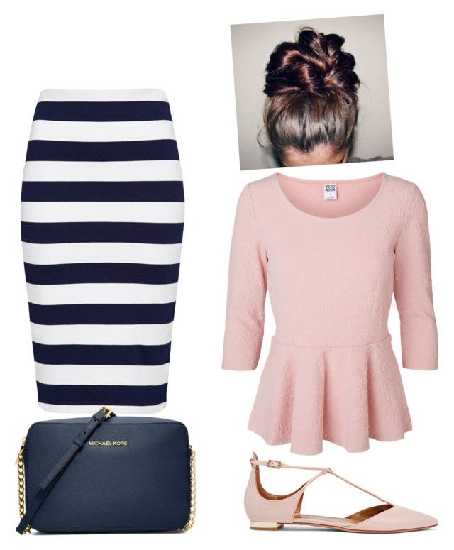 ^Navy^Pink^ by bye18 on Polyvore featuring polyvore fashion style Vero Moda French Connection Aquazzura MICHAEL Michael Kors clothing