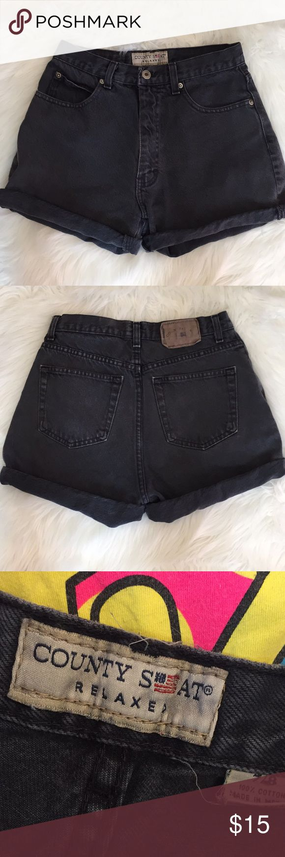County Seat Black Denim Shorts Size 7/8. Please ask any questions. Thank you for looking. County Seat Shorts Jean Shorts