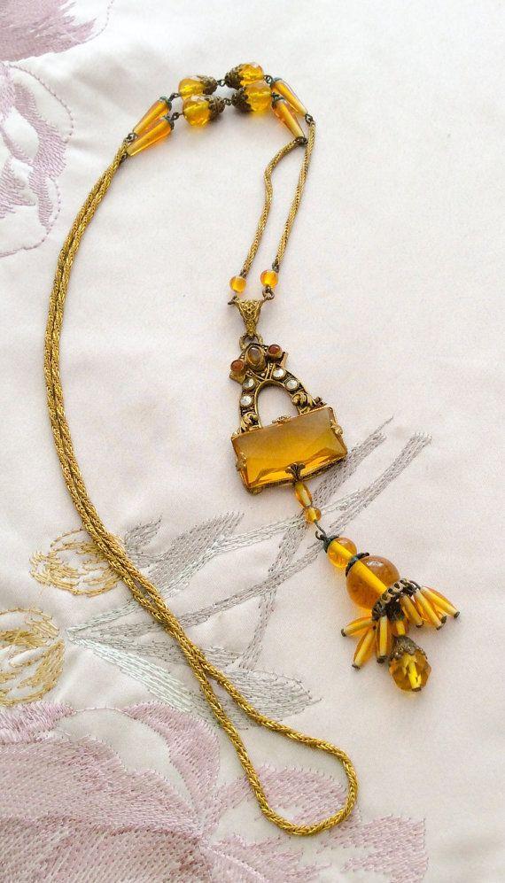 Czech Glass Amber Necklace Art Deco Flapper 1920s by OurBoudoir