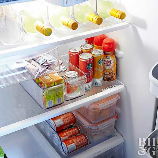 It might seem obvious, but start your fridge organization by adjusting the shelves to your everyday needs.