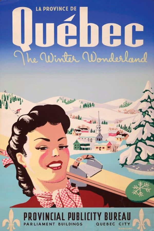Vintage tourism poster for Quebec.