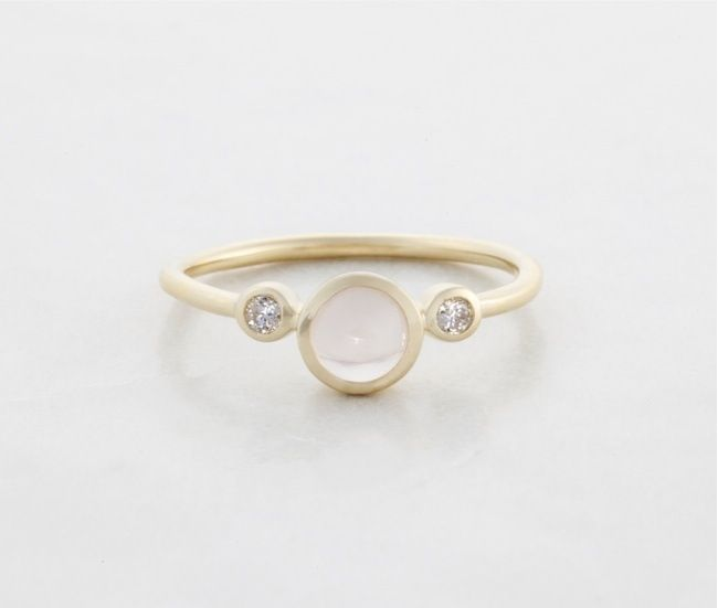 Audrey: Shimmer Ring w. Diamonds and Rose Quartz