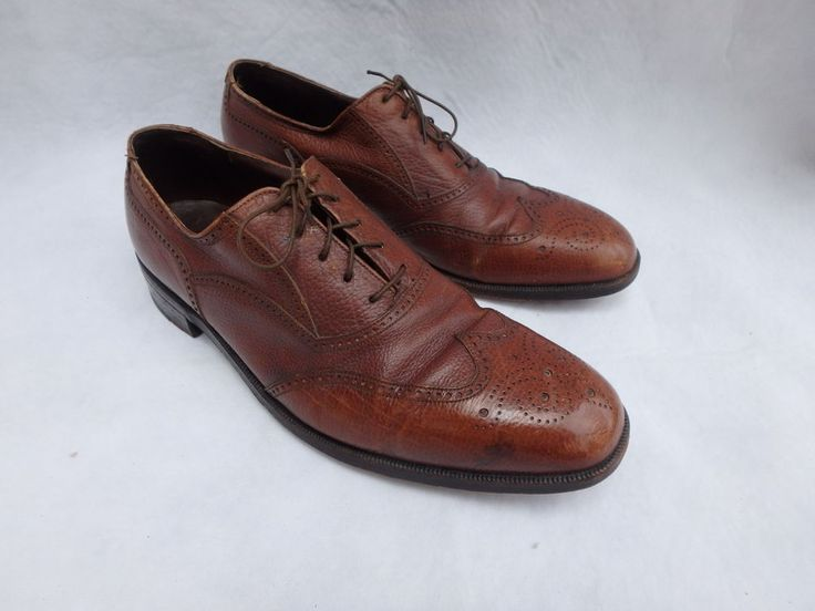 VTG FLORSHEIM ROYAL IMPERIAL Balmoral Pebble Grain Brown WINGTIP SHOES Sz 10…