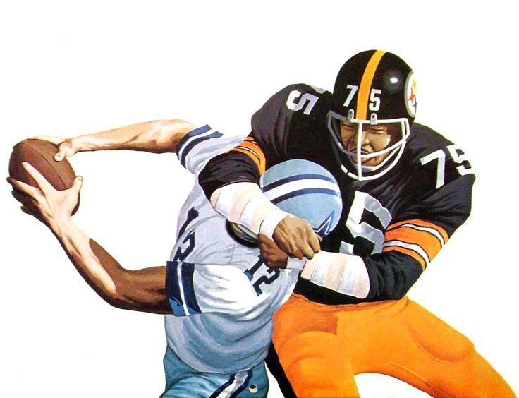 Dallas Cowboys vs. Pittsburgh Steelers, 1976 Pro Football Pizza Hut Calendar artwork