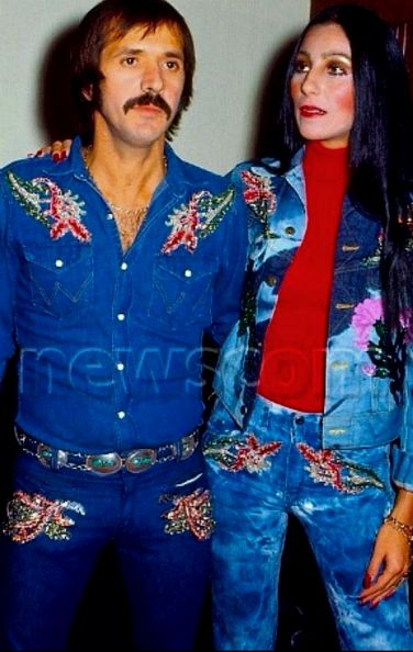Husband and wife denims for Sonny and Cher..........cool!