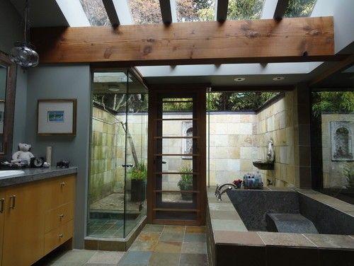 indoor outdoor master bathrooms | Gorgeous indoor/outdoor bathroom