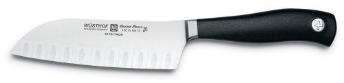 Wusthof Grand Prix II 5-Inch Hollow Ground Santoku Knife by Wusthof. Save 27 Off!. $79.95. Manufactured in Solingen, Germany; hand wash; lifetime warranty. Ergonomically designed, slip-resistant handle; sleek, contemporary look. 5-inch multi-purpose Santoku knife with efficient hollow-edge blade. Sturdy, steel bolster; tang extends almost the full handle length for strength. Precision-forged from a single piece of high-carbon, stain-resistant steel. This 5-inch multi-use Santoku kni...