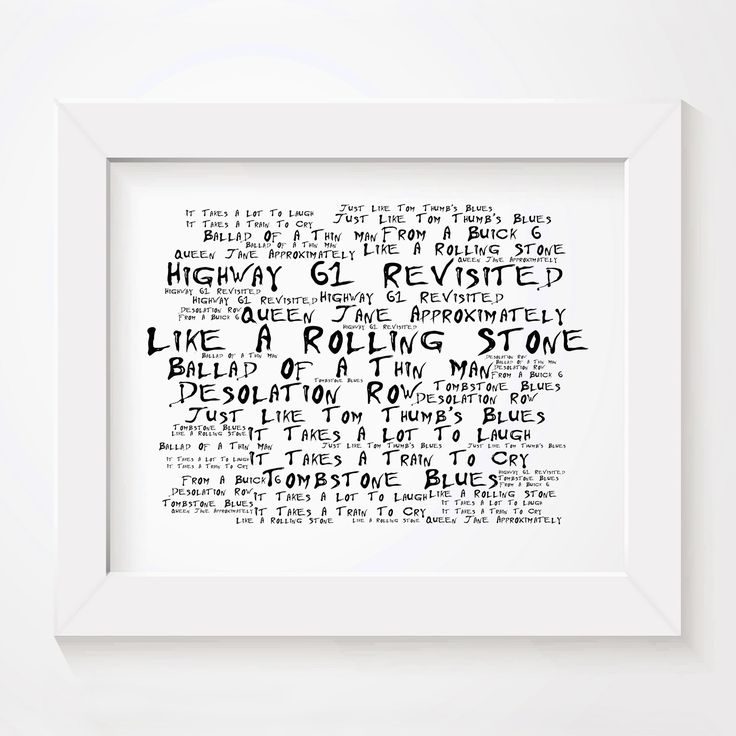 Bob Dylan Highway 61 Revisited limited edition typography lyrics art print, signed and numbered wall art poster in Noir Paranoiac style available from www.lissomeartstudio.com or from our Amazon or Etsy store.